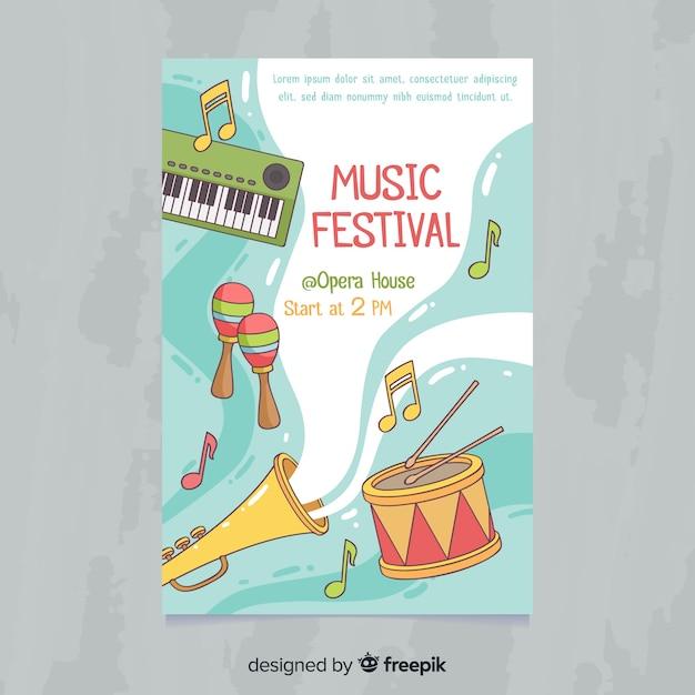 Cartaz de festival de música de instrumentos de mão desenhada Vetor grátis