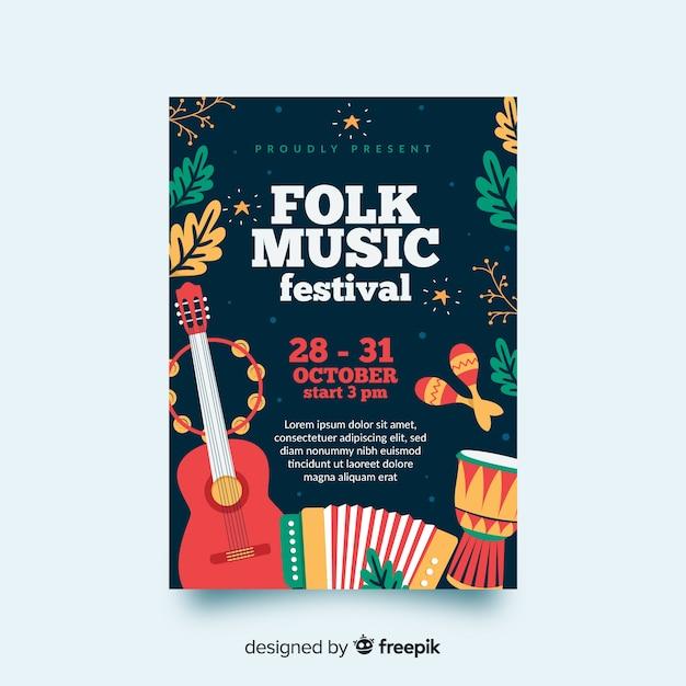 Cartaz de festival de música desenhada de mão Vetor Premium