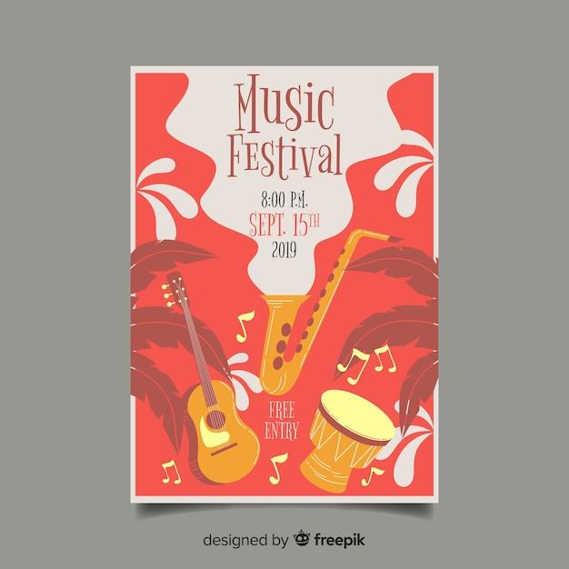 Cartaz de festival de música desenhada de mão Vetor grátis