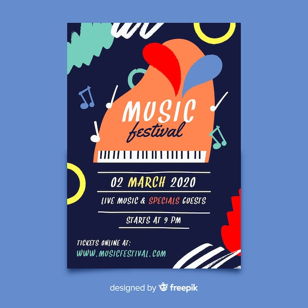 Cartaz de festival de música desenhada mão abstrata Vetor grátis