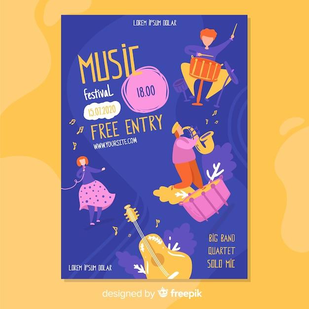 Cartaz de festival de música desenhada mão com entrada gratuita Vetor grátis