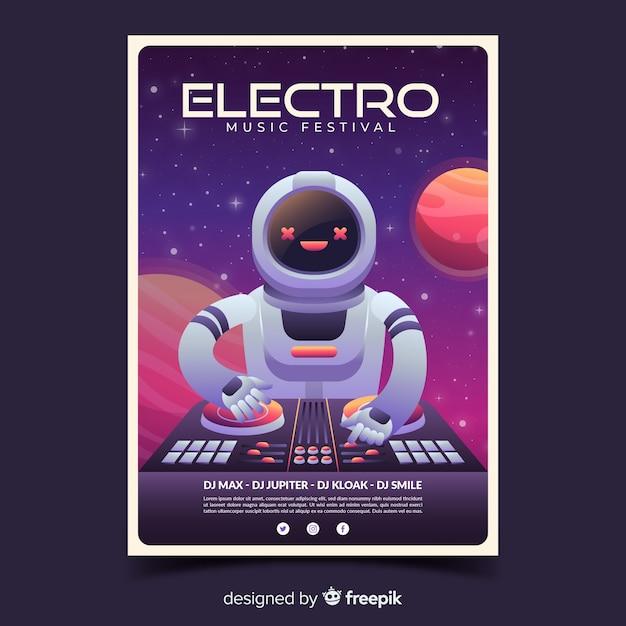 Cartaz de festival de música electro com ilustração gradiente Vetor grátis