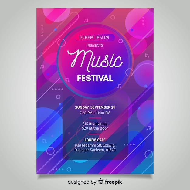 Cartaz de festival de música gradiente abstrata Vetor grátis