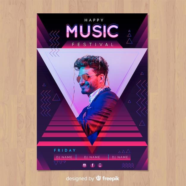 Cartaz de festival de música gradiente colorido com imagem Vetor grátis