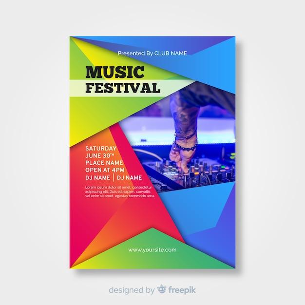 Cartaz de festival de música gradiente colorido Vetor grátis