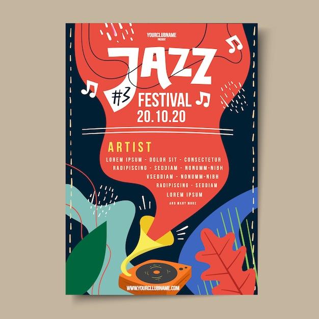 Cartaz de festival de música jazz desenhado à mão Vetor Premium