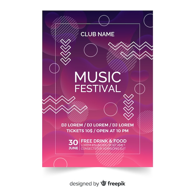 Cartaz de festival de música ou modelo de panfleto no design moderno abstrato Vetor grátis