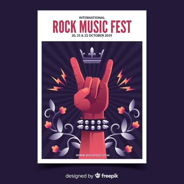 Cartaz de festival de música rock com ilustração gradiente Vetor grátis