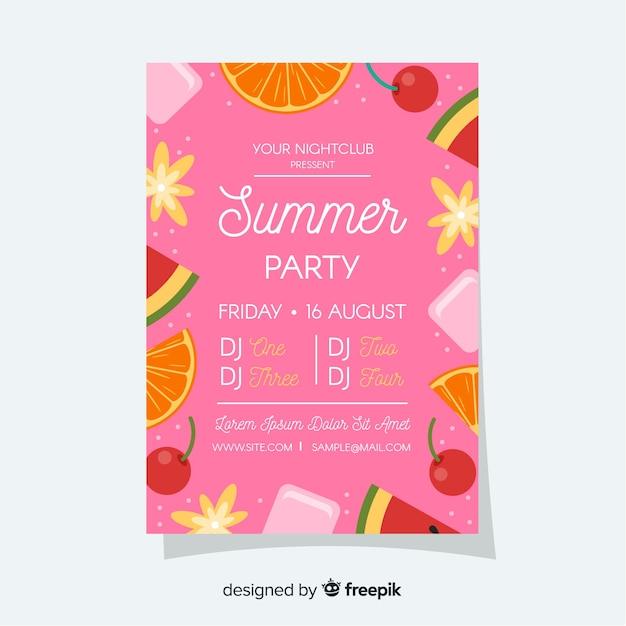 Cartaz de festival de verão de quadro de frutas Vetor grátis
