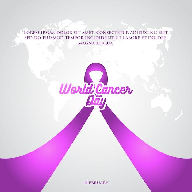 Cartaz de fita roxa de dia de câncer de mundo Vetor Premium