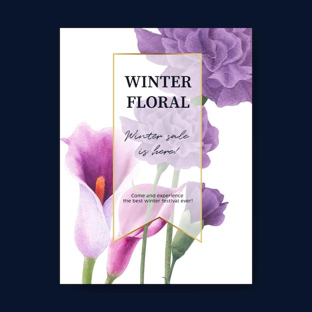 Cartaz de flor de inverno com peônia, lírios Vetor grátis