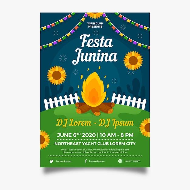 Cartaz de fogueira festa junina design plano Vetor grátis