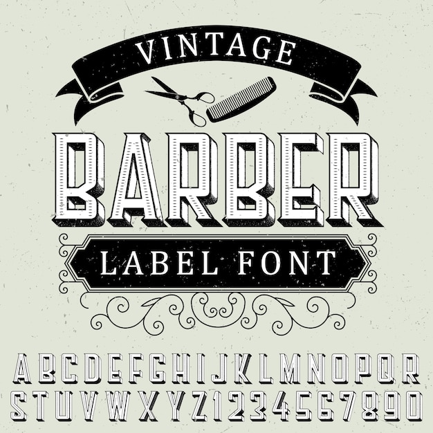 Cartaz de fonte de etiqueta de barbeiro vintage com design de etiqueta de amostra em pó Vetor grátis