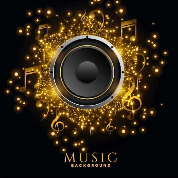 Cartaz de fundo de brilhos dourados de alto-falantes de música Vetor grátis