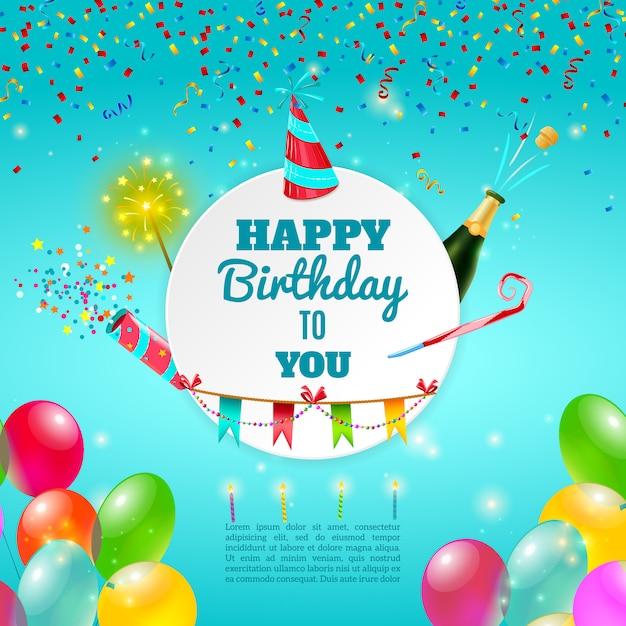 Cartaz de fundo de comemoração de feliz aniversário Vetor grátis