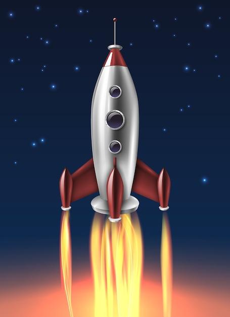 Cartaz de fundo de lançamento de foguete de metal realista Vetor grátis
