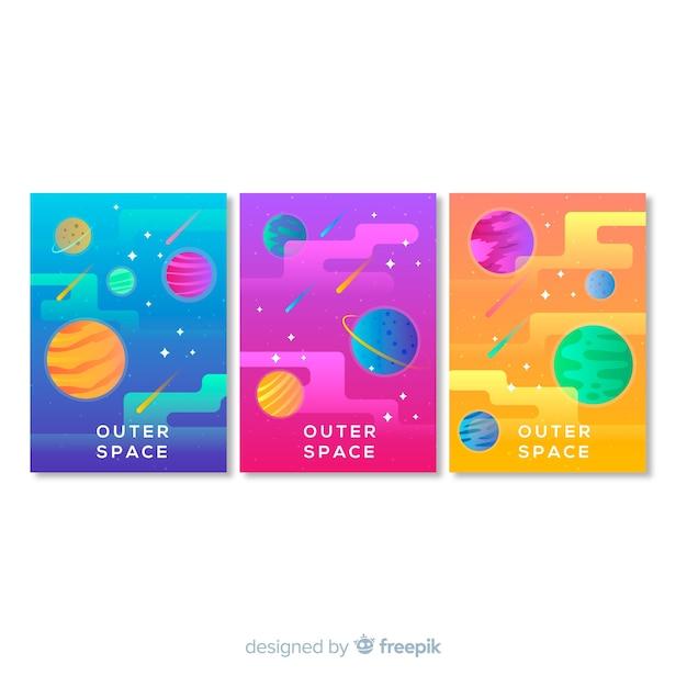 Cartaz de galáxia desenhada mão colorido Vetor grátis
