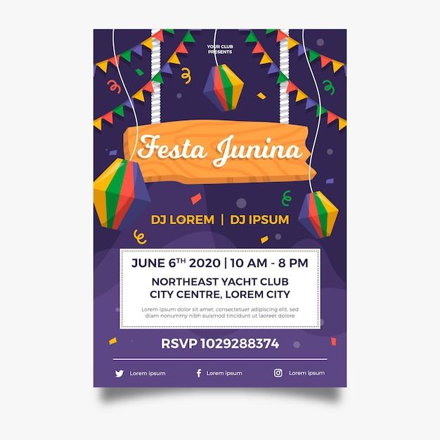 Cartaz de guirlandas de festa junina de design plano Vetor grátis