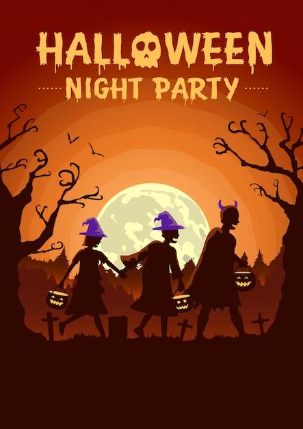 Cartaz de halloween com grupo de crianças vestindo roupas extravagantes e chapéu como bruxa carregando uma panela para solicitar presentes à noite Vetor Premium