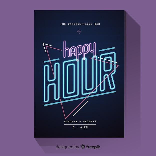 Cartaz de happy-hour com luz de neon Vetor grátis