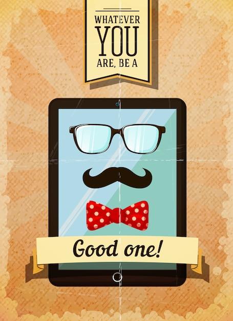 Cartaz de hipster com tablet vintage Vetor grátis
