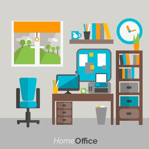 Cartaz de ícone de mobiliário de escritório em casa Vetor grátis