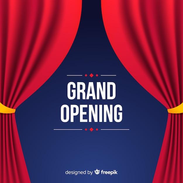Cartaz de inauguração plana com cortinas Vetor grátis