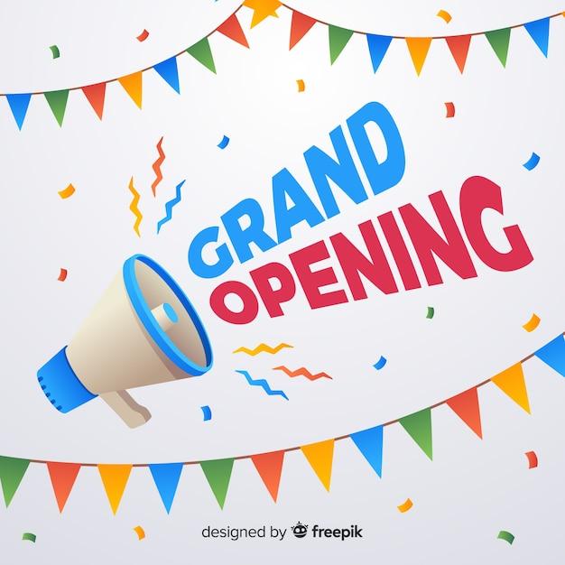 Cartaz de inauguração plana com megafone Vetor grátis