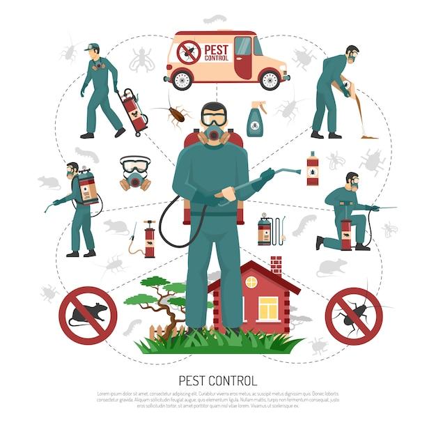 Cartaz de infográfico plana de serviços de controle de pragas Vetor grátis