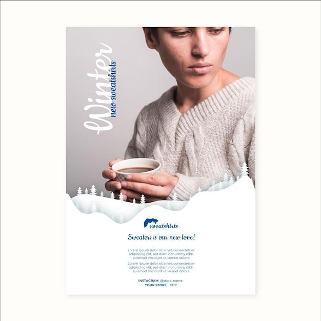 Cartaz de inverno conceito a4 Vetor grátis