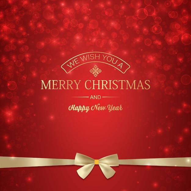 Cartaz de inverno feliz ano novo com inscrição de saudação e laço de fita dourada em estrelas vermelhas brilhantes borradas Vetor grátis