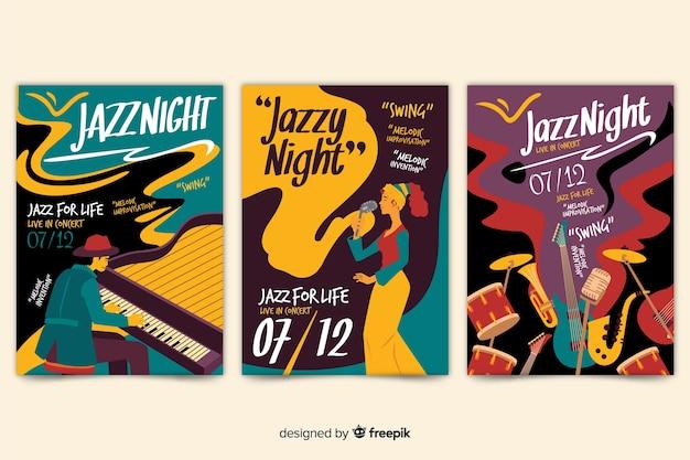 Cartaz de jazz desenhado mão abstrata de modelo Vetor grátis