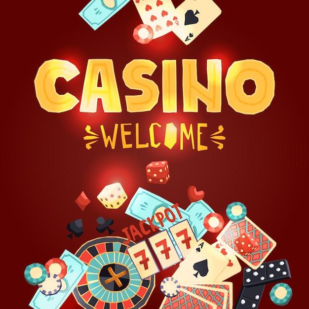 Cartaz de jogos de cassino Vetor grátis