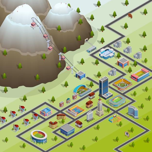 Cartaz de layout isométrico de instalações de aldeia Vetor grátis