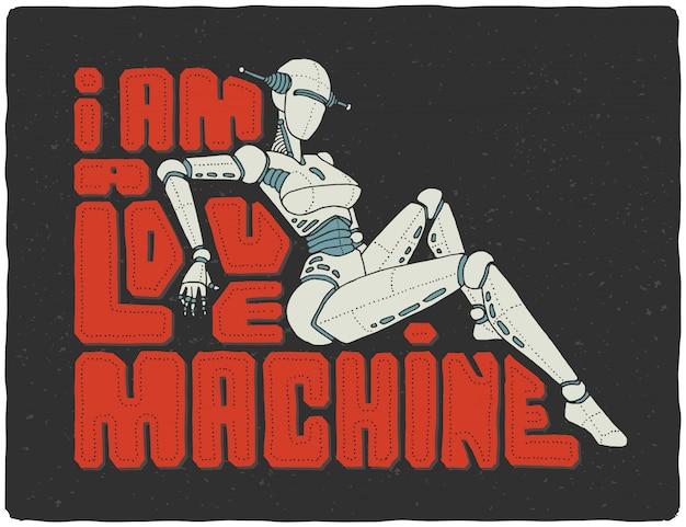 Cartaz de letras com cyber robô feminino Vetor grátis
