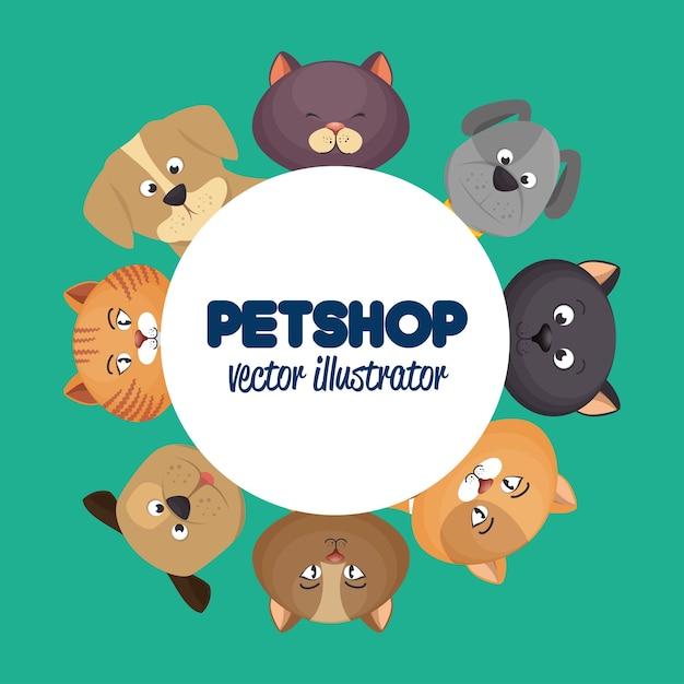 Cartaz de loja de animais com gatos adoráveis Vetor Premium