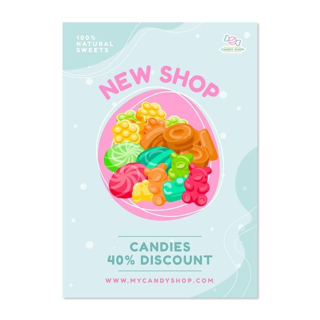 Cartaz de loja de doces com doces Vetor grátis