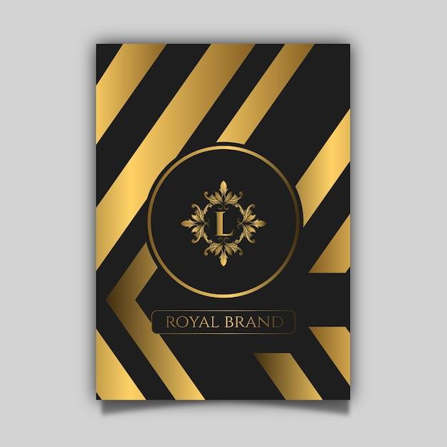 Cartaz de luxo com ouro e padrão preto Vetor Premium