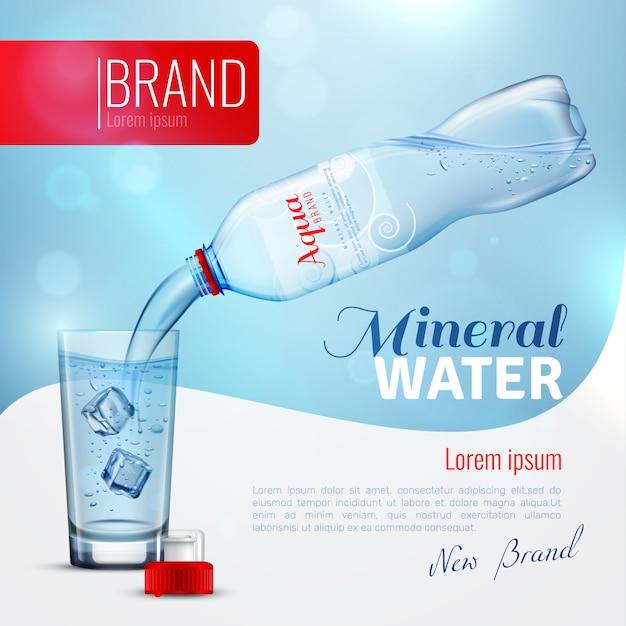 Cartaz de marca de publicidade de água mineral Vetor grátis