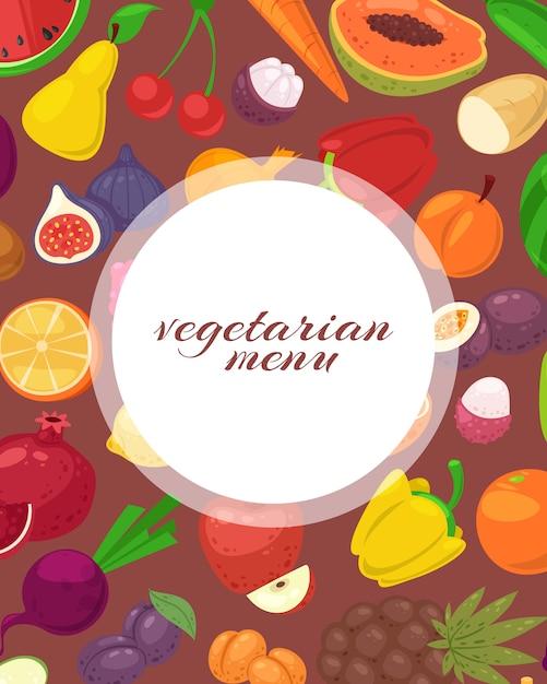 Cartaz de menu vegetariano e vegetariano com ilustração de frutas e legumes tropicais. Vetor Premium