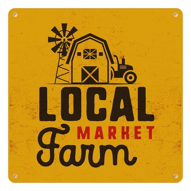 Cartaz de mercado agrícola local com símbolos de fazendeiro e elementos - trator, moinho de vento, ilustração de celeiro Vetor Premium