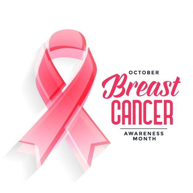 Cartaz de mês de conscientização de câncer de mama Vetor grátis