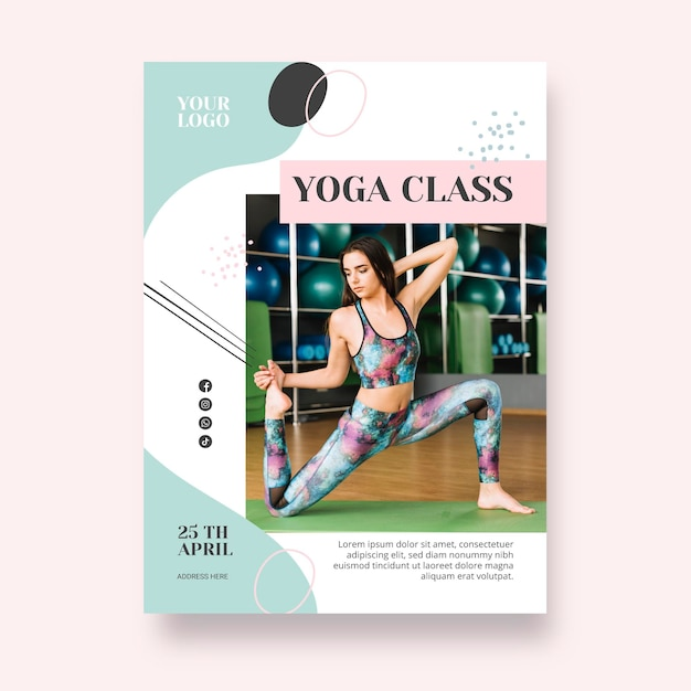 Cartaz de modelo de aula de ioga Vetor grátis