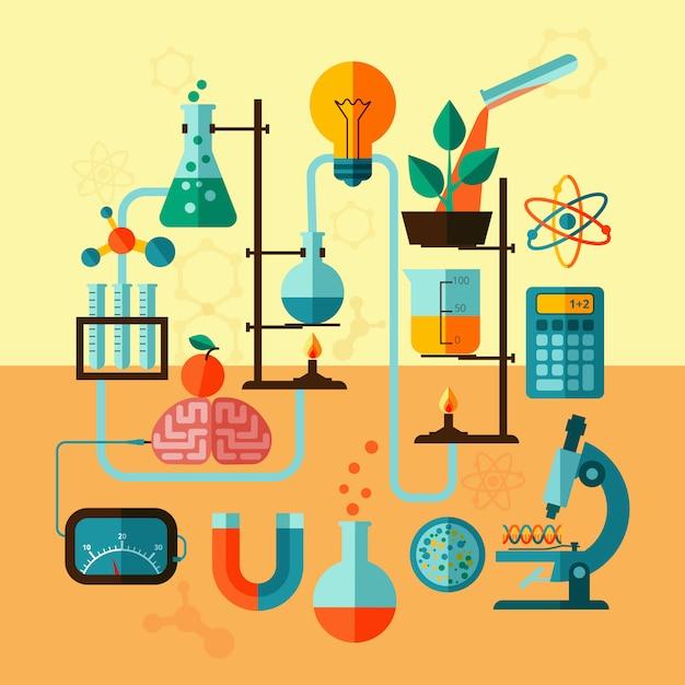 Cartaz de modelo de laboratório de pesquisa científica Vetor grátis