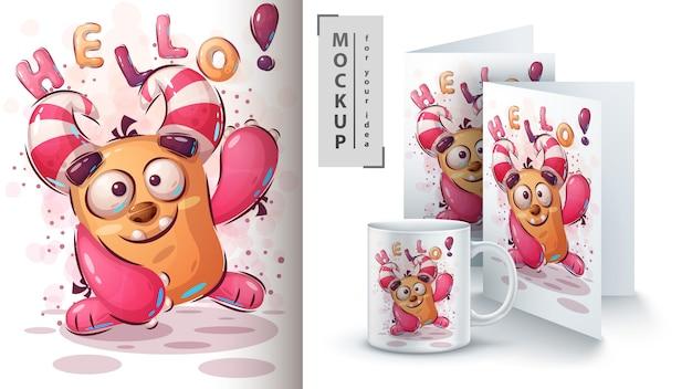 Cartaz de monstro fofo e merchandising Vetor Premium
