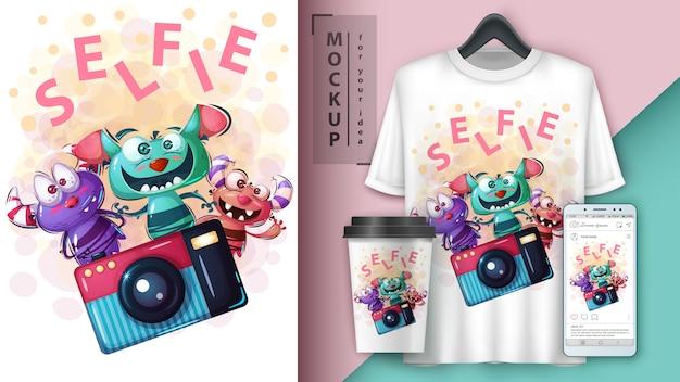 Cartaz de monstro selfie e merchandising Vetor Premium