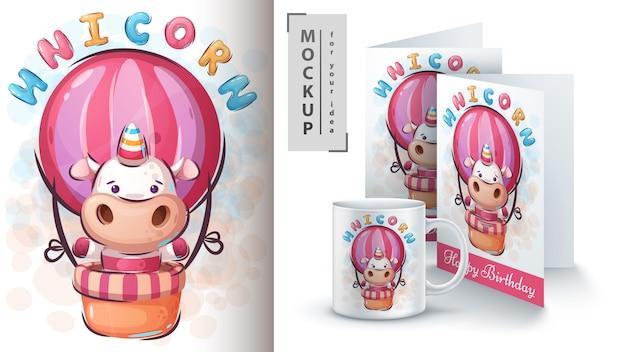Cartaz de monstro unicórnio mágico e merchandising Vetor Premium