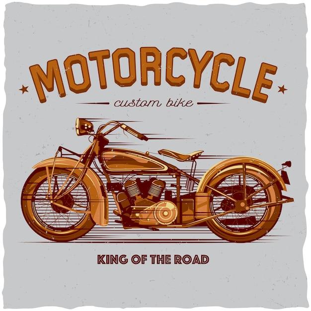 Cartaz de motociclista clássico Vetor grátis