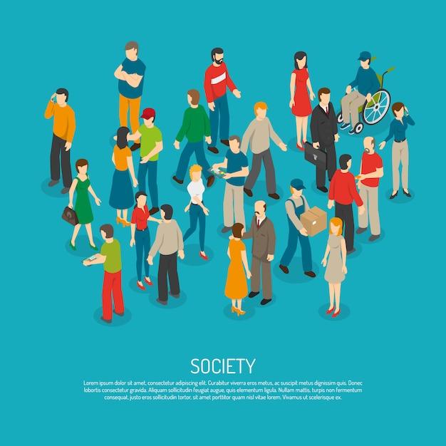 Cartaz de multidão de pessoas Vetor grátis