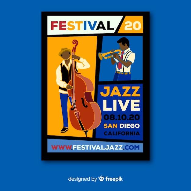 Cartaz de música ao vivo de jazz desenhados à mão de modelo Vetor grátis